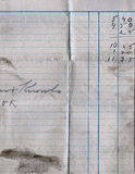 Old lined paper with writing. Close view Royalty Free Stock Photography