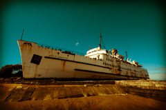 Old liner ship retired Royalty Free Stock Image