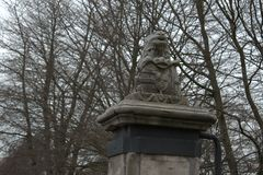 Dutch old lion stone sculpture stock photography