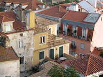 Old Lisbon. Tile roofs in the old Lisbon centre Alfama Royalty Free Stock Images
