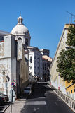 Old Lisbon street with cars Stock Photography