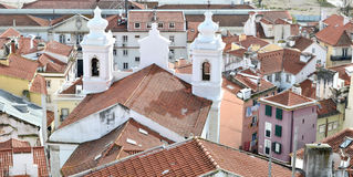 Old Lisbon view. A view of the old Lisbon, with a church , Portugal, europe Royalty Free Stock Photos