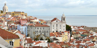 Old Lisbon view. A view of the old Lisbon, with a church and the sea, Portugal, europe Stock Photography