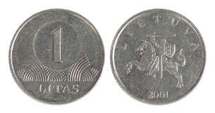 Old Lithuania coin. On the white background (2001 year Stock Photography