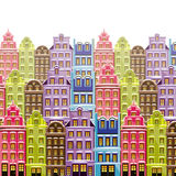Old little town background with multicolor buildings. Cute little houses. Retro backdrop Royalty Free Stock Image