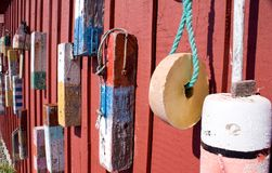 Old Lobster Buoys royalty free stock photo