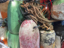 Old Lobster pot buoy collection Stock Photos