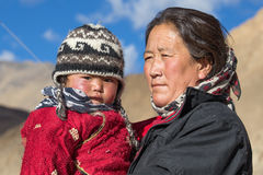 Old local woman with the child in Ladakh. India Royalty Free Stock Photography
