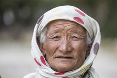 Old local woman in Ladakh. India Royalty Free Stock Photography