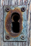 Old lock. Close up in old oxidized metal lock Stock Photo