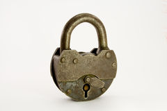 The old lock. The old metal closed lock royalty free stock photography