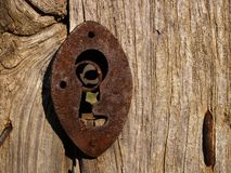 Old lock. At garden royalty free stock image