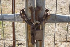 Old  lock with chain on iron gate. Concept of reliability and sa Royalty Free Stock Images