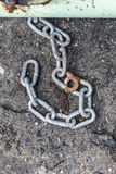 Old lock with chain. On steel wall Royalty Free Stock Photography