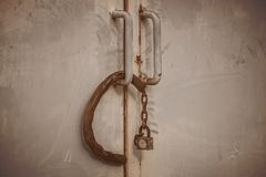 Old lock door. Old lock and chain are rusty and damage, Vintage effect Stock Image