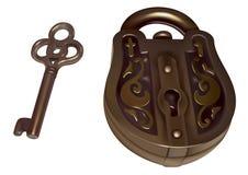 Old lock and key stock illustration