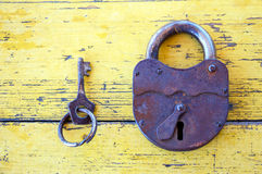 Old lock with a key Royalty Free Stock Photo