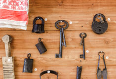 Old lock, keys and other items Royalty Free Stock Image