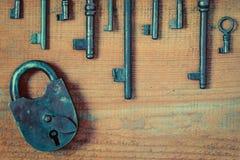 Old lock and keys Royalty Free Stock Photo