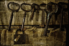 Old lock and keys Royalty Free Stock Images
