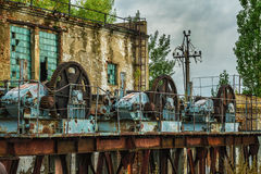 Old  lock mechanism at an abandoned dam Stock Photos