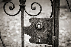 Old lock on the metal fence Stock Image