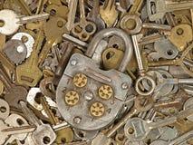 Old lock and metal keys. Royalty Free Stock Image