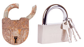 Old lock and new lock Royalty Free Stock Photography