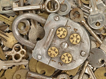 Old lock and old keys. Royalty Free Stock Photography