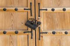 Old lock on the pine wood door korean style,Seoul,South Korea, g Royalty Free Stock Images