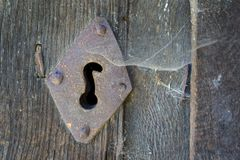 Old lock and spiderweb Royalty Free Stock Photos