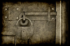 Old locked door in grunge Royalty Free Stock Photos