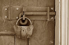 Old locked shed door Stock Image