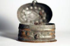 Old locked tin box royalty free stock photography