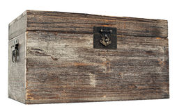 Old locked wooden chest Stock Image