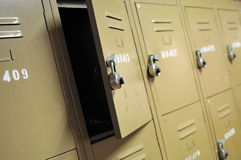 Old lockers with locks Stock Photos