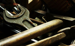 Old locksmith tools on the dark Royalty Free Stock Photography