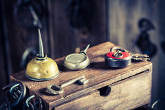Old locksmiths workshop with ancient tools Stock Photos