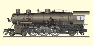 Old locomotive. Vector illustration of old locomotive Stock Photos