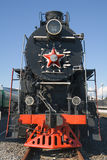 Old locomotive. Old Russian locomotive at the railway station stock image