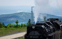 The old locomotive on the Brocken of Harz,Germany Stock Photo