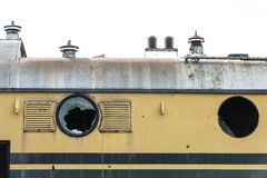 Old locomotive with broken windows Royalty Free Stock Images