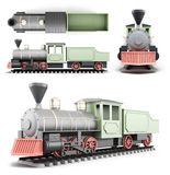 Old locomotive with the car at different angles. On a white background. 3d rendering Stock Photos