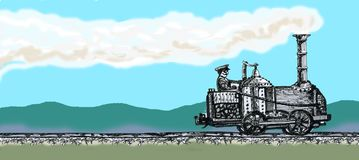 An old locomotive. Drawing from the hand of the old vintage locomotive. graphic arts Stock Images