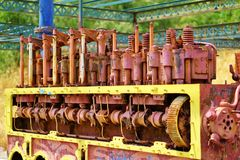 Old Locomotive Engine. An old painted and rusty locomotive internal combustion engine Royalty Free Stock Photo