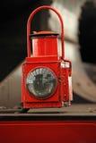 Old locomotive floodlight. Red old locomotive floodlight close up Royalty Free Stock Photo