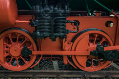The old locomotive on metals, Germany.  Royalty Free Stock Photos