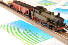 Old Locomotive Model on graphs Stock Image