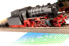Old Locomotive Model on graphs Royalty Free Stock Photography
