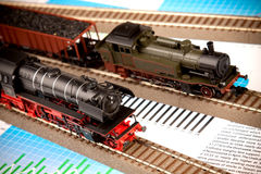 Old Locomotive Model on graphs Stock Photos